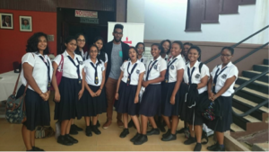 """NGHS Peer Helpers with Mr Nikoli Edwards, a Representative from the """"We"""" Project"""
